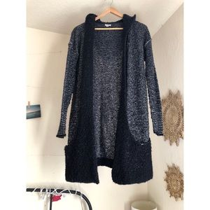 Ecote Gray and Black Long Hooded Knit Cardigan